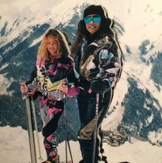 Nicole Richie with mom Brenda Richie, skiing in the late 80's (possibly early 90's)