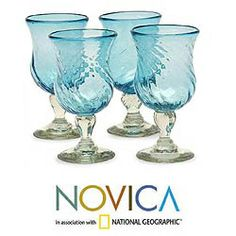 Set of 4 'Caribbean Sea' Cocktail Glasses (Mexico)