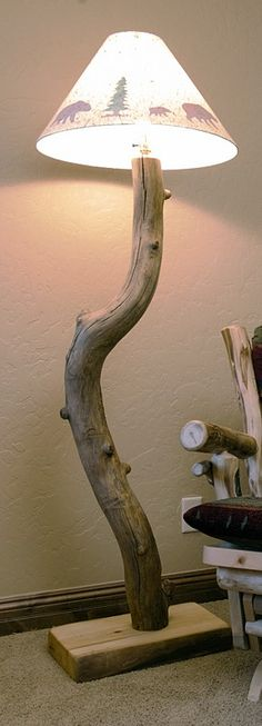 Aspen Mountain Floor Lamp - JHE's Log Furniture Place I don't like the shade, but I love everything else about it. I would do a shade with leaves on it, not bears.