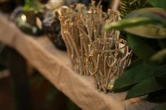 peaceful crafted twig vases with glass inserts  Like us on Facebook, too!  We post item photos daily.  Let our photo take you there.