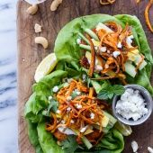 Permalink to: Curried Salmon Burger Lettuce Wraps w/Crispy Sweet Potato Straws + Goat cheese.