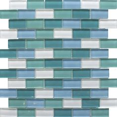 Blue Mix Tile Glass Brick Mosaics Mosaic Tiles 325x325x8mm