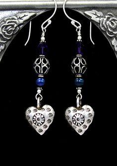 Sterling hearts w/blue pearls & Swarovski crystals