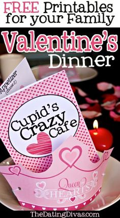 "Cupid's Crazy Cafe - A ""Mystery"" menu where family members order from a ""huggin,"" ""cuddlin',"" ""smoochin',"" etc. that are each code words for part of dinner."