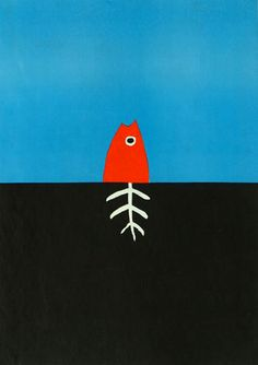 """Jørgen Stock. Cartel ganador de la medalla de oro en 5th International Poster Biennale (Varsovia) en la categoría """"Agua-elemento de vida"""". 1974 Graphic Design Posters, Graphic Design Illustration, Illustration Art, Art Textile, Animal Posters, Fish Art, Art Images, Art Lessons, Pop Art"""