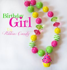 Chunky Necklace, Cupcake necklace, Birthday Necklace - Yellow, Lime, and Hot Pink girls birthday chunky necklace, toddler jewelry, custom. $25.00, via Etsy.
