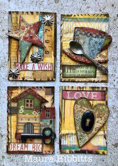Art Journal Pages, Journal Cards, Art Journals, Junk Journal, Wave Stencil, Paper Art, Paper Crafts, Art Trading Cards, Artist Card