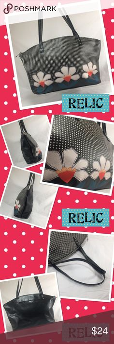 "RELIC Black Floral and Dots Shoulder Bag RELIC Black Floral and Dots Shoulder Bag with Silver Tone Hardware.  Manmade materials, two outer slip pockets, one interior zip pocket, and two interior slip pockets.  15.5x11x4"" with 10"" strap drop.  Bottom corners show mild wear.  Otherwise, bag is in fantastic condition.  Adorable Relic style.  Orig. $80. Relic Bags Shoulder Bags"