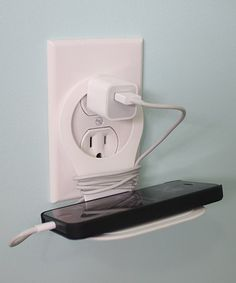 {White Wall Holder by Koshi Electronics} Cool Tech Gadgets, Gadgets And Gizmos, Things I Need To Buy, Make A Wish, White Walls, Loose Ends, Home Accessories, Cords, Mp3 Player