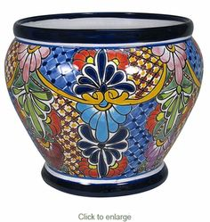 Talavera Flower Pots, Planters and Mexican Garden Pottery Painted Clay Pots, Painted Vases, Hand Painted, Painted Pottery, Mexican Pattern, Decorated Flower Pots, Pottery Supplies, Talavera Pottery, Inside Plants