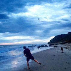 The calm after the storm last night was amazing.  #Flip was so ready for the rain to stop and play fetch on the #beach. #storm #Malibu #ScottYancey