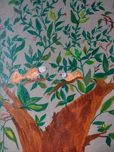 Hand painted flora and fauna mural