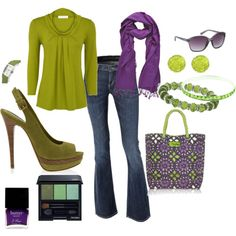 Green and purple outfit.