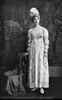 """19th Century Costumes from the Victoria and Albert Museum as seen in """"Old English Costumes"""" c.1908 Part 1 1800-1830 Plate 25. A pretty cotton frock. 1805-15."""
