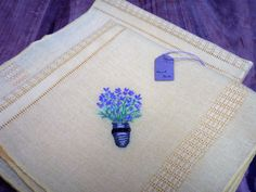 2 Hand embroidered lavender towel Irish linen by CharmingPocket