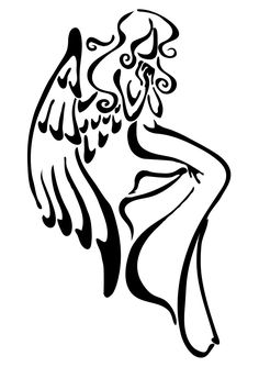 Only the best free Angel Outline Tattoos tattoo's you can find online! Angel Outline Tattoos tattoo's to print off and take to your tattoo artist. Simple Angel Tattoos, Small Angel Tattoo, Tattoo Small, Mandala Tattoo Design, Cute Tattoos, Body Art Tattoos, Cloud Tattoos, Engel Tattoo, Angel Silhouette