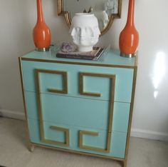 Bri of Me, You and a Wiener:larger IKEA dresser with trim details in a greek key motif {dying over the gold and turquoise combo too!}