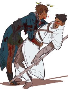 Blood doesn't wash out of white, Lavellan. Shower first.