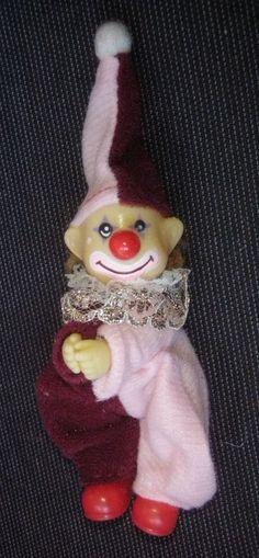 pirrot puppe rot rosa Klammertier Klemmfigur ca10cm clown harlekin sammeln
