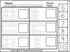 Free Mitten Math Numbers To 10 Worksheet.  Students count the mitten pictures and cut and paste the numbers that match.