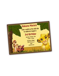 Lion King Birthday Party Invitation