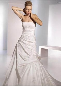 Satin Strapless Ruched A line Skirt in Asymmetrical Pick up Designs 2010 New Wedding Dress WD-0241