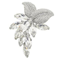 Silver Marquis Abstract Flower Brooch Pin