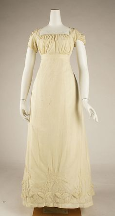1810-15 dress, French. Cotton. The Met, C.I.63.39 [Likely an underdress, to be worn beneath a sheer, probably colored and embroidered, overdress.]