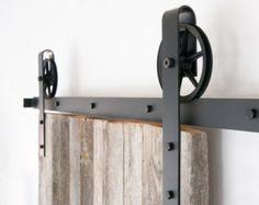 Vintage Industrial Spoked European Wide Strap Sliding Barn Door Closet Hardware set