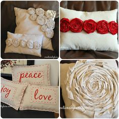 how to make a pillow slipcover - she uses drop cloth and embellishes - great idea!