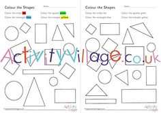 Colour the shapes on these fun worksheets Color Activities For Toddlers, Toddler Activities, Maths Resources, Shapes Worksheets, Colour, Color, Toddler Crafts, Children Play, Colors