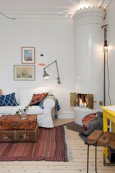 Home Interior Design — Scandinavian home Home Living Room, Living Room Designs, Living Spaces, Living Area, One Room Apartment, Apartment Living, Apartment Design, Apartment Therapy, Apartment Ideas