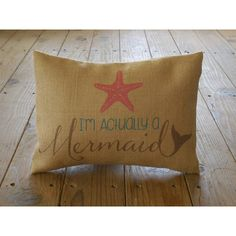 I'm a Mermaid Burlap Pillow Mermaids Ocean Nautical Insert Included (€21) ❤ liked on Polyvore featuring home, home decor, throw pillows, decorative pillows, grey, home & living, home décor, burlap home decor, grey throw pillows and burlap throw pillows