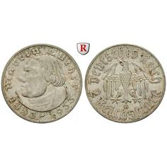 Drittes Reich, 2 Reichsmark 1933, Luther, G, vz+, J. 352: 2 Reichsmark 1933 G. Luther. J. 352; vorzüglich +, l. fleckig 45,00€ #coins