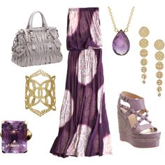 Purple maxi dress, created by smarchetta74 on Polyvore