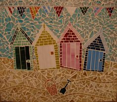 Beach Huts and Bunting. Mosaic. Cute!!!