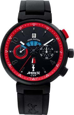 """Louis Vuitton Tambour Regatta America's Cup For. - Louis Vuitton Tambour Regatta America's Cup """" For this year's America's Cup Louis Vuitton introduces a new, blacked out Tambour Regatta in two versions: an automatic with a chronograph, countdown,. Louis Vuitton Watches, Louis Vuitton Wallet, Louis Vuitton Handbags, Cheap Handbags, Tambour, Luxury Bags, Luxury Handbags, Cool Watches, Watches For Men"""