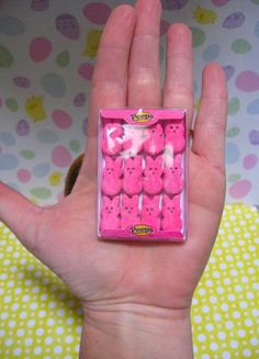 Peeps inspired realistic handmade miniature marshmallow bunnies easter candy food  for 18 inch doll American Girl Springfield  1:3 scale. $15.00, via Etsy.