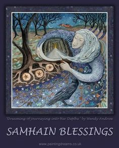 Samhain Goddess by Wendy Andrew. Samhain - Oct Wise Old Crone Woman leads us into the dark days of winter. She knows that all must travel Her path to reach the rebirth of spring. A time to remember all those who have gone before. Fantasy Kunst, Fantasy Art, Blessed Samhain, Samhain Halloween, Goddess Art, Sabbats, Beltane, Green Man, Archetypes