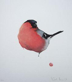 Karl Mårtens - Bullfinch - watercolor