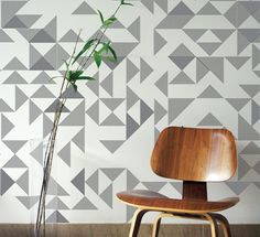 Goldsmiths embroidered and block printed wallpaper in charcoal greyby Custhom