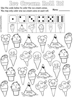 Cute Ice Cream Math Game- simple, easy, fun for Back to School #backtoschool