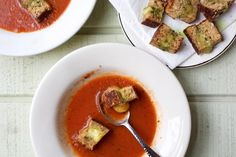 Tomato Soup With Grilled Havarti Cheese Croutons