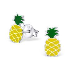 Girls sterling silver yellow & green epoxy pineapple stud earrings with butterfly backs Sterling Silver 925 Suitable for girls age 3 & over Size Approx: x Presented in a gift box and shipped from U.K FREE UK shipping on orders over Platinum Earrings, Sterling Silver Earrings Studs, Silver Jewelry, Silver Necklaces, Diamond Earrings, Silver Rings, Cute Stud Earrings, Kids Earrings, Small Diamond Rings