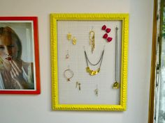 DIY Jewelry Display: It's a picture frame and chicken wire. Love the eclectic style! http://www.hgtv.com/specialty-rooms/repurposing-household-items-for-closet-organization/pictures/index.html?soc=pinterest