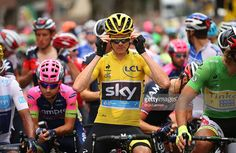 Chris Froome of Great Britain and Team Sky prepares to start stage 14 during the 2014 Tour de France, a 187.5km stage from Rodez to Mende, on July 18, 2015 in Rodez, France. #TDF2015 #rm_112