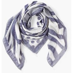 Chico's Women's Chambray Patterned Scarf ($50) ❤ liked on Polyvore featuring accessories, scarves, chambray, chicos scarves, fringe scarves, polka dot scarves, striped scarves and fringe shawl