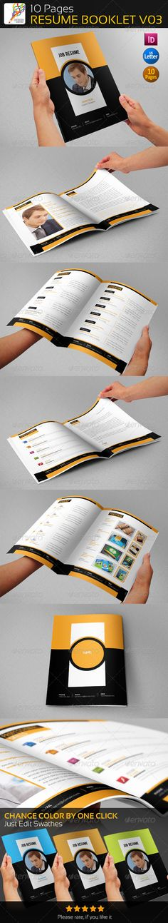 10 Pages Professional Resume Booklet V03 — InDesign INDD #reference letter resume #creative template • Available here → https://graphicriver.net/item/10-pages-professional-resume-booklet-v03/5424439?ref=pxcr