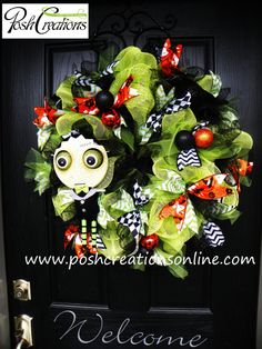 Frankenweenie Theme Wreath Halloween Wreath Tim by poshcreationsKY, $89.99