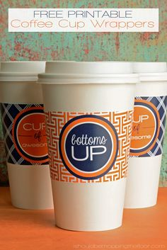 Free Printable Coffee Cup Wrappers   Two Deigns   Instant Downloads